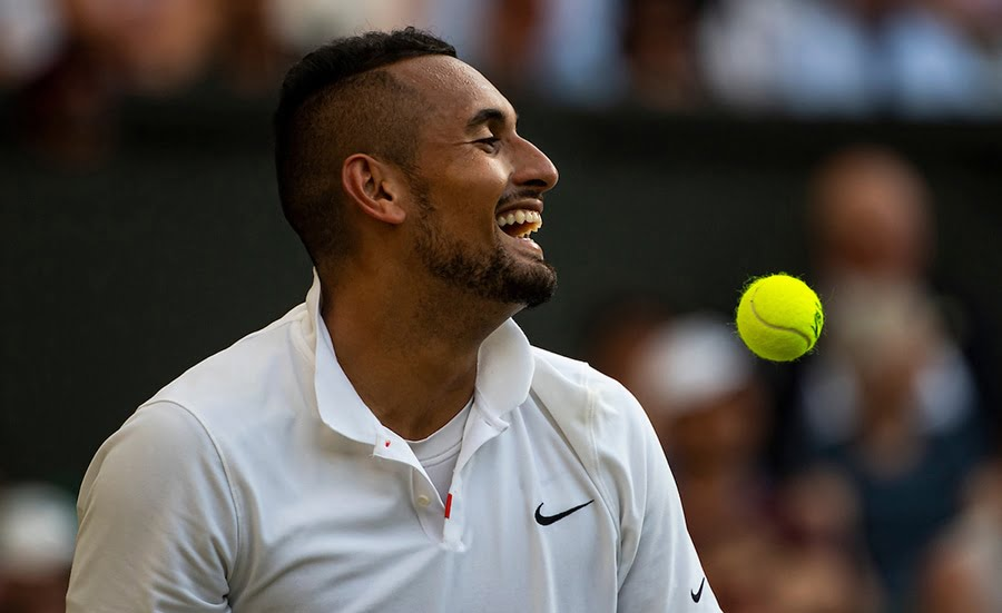 Nick Kyrgios laughing at Wimbledon
