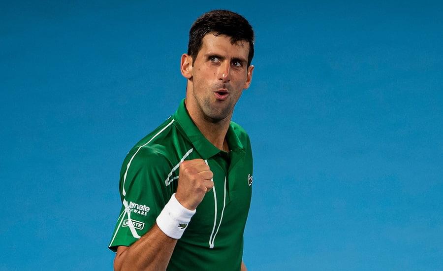 Novak Djokovic fistpump at Australian Open