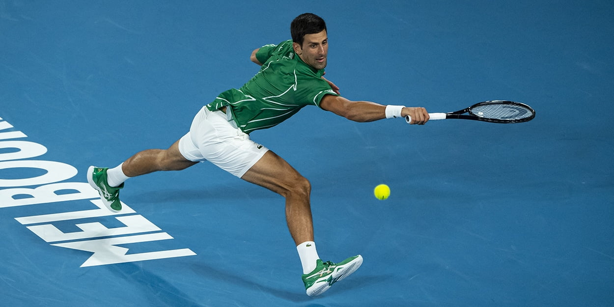 Novak Djokovic reaching
