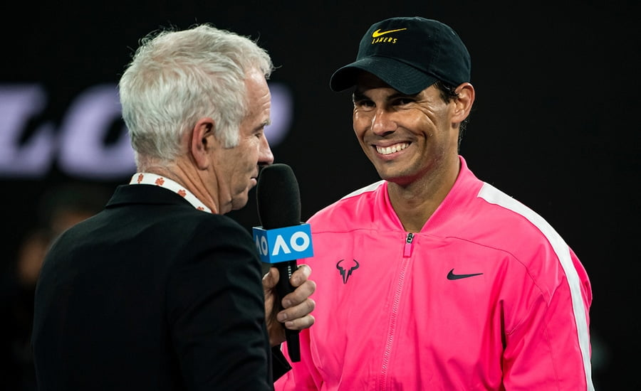 Rafael Nadal speaking after Australian Open win