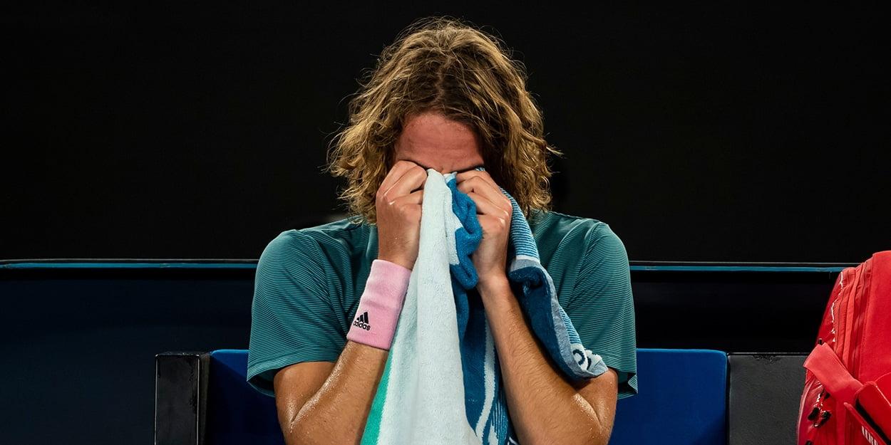 Stefanos Tsitsipas crying after Rafael Nadal defeat