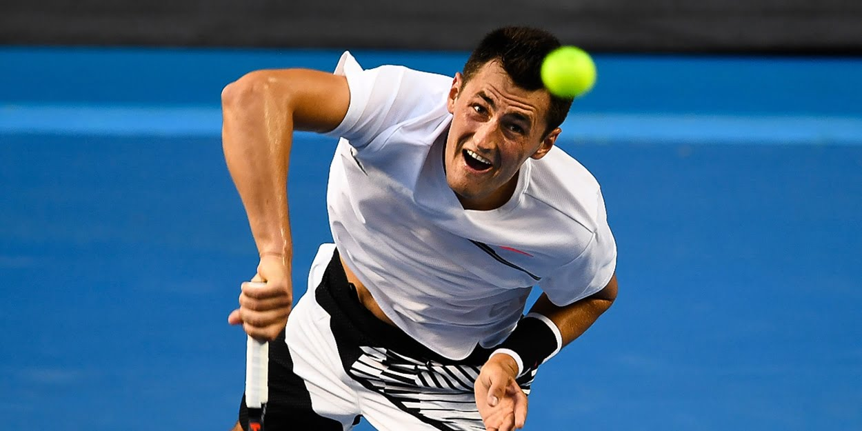 Australian Bernard Tomic serving