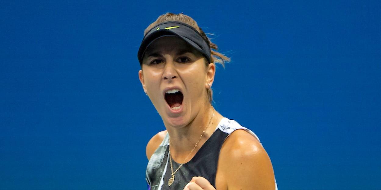 Belinda Bencic shouts US Open