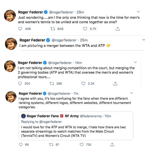 Roger Federer tennis tour comments