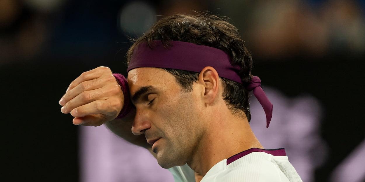 Roger Federer Australian Open 2020 sweat
