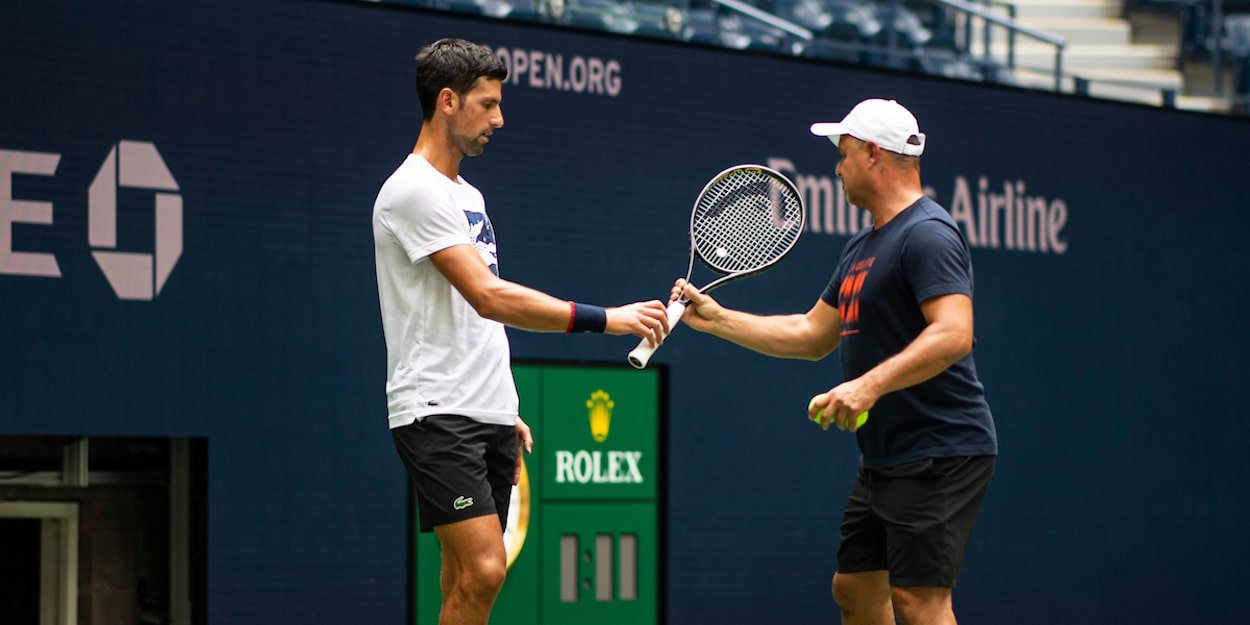 Novak Djokovic with coach at US Open 2019