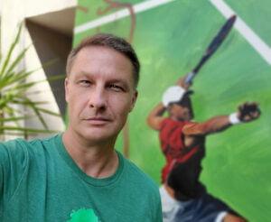 Joe Durica founder of Stick It Wear tennis t-shirts
