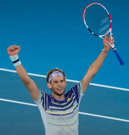 Dominic Thiem celebrates at Australian Open
