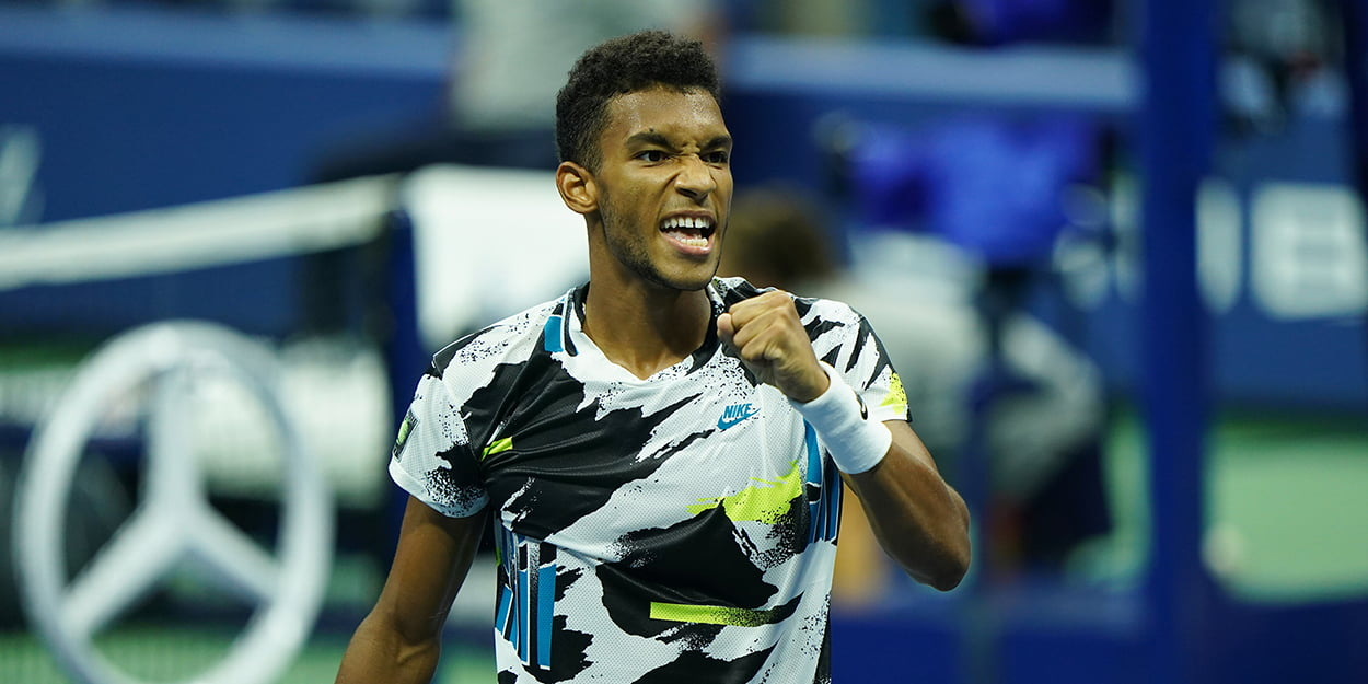 Felix Auger-Aliassime celebrates at US Open