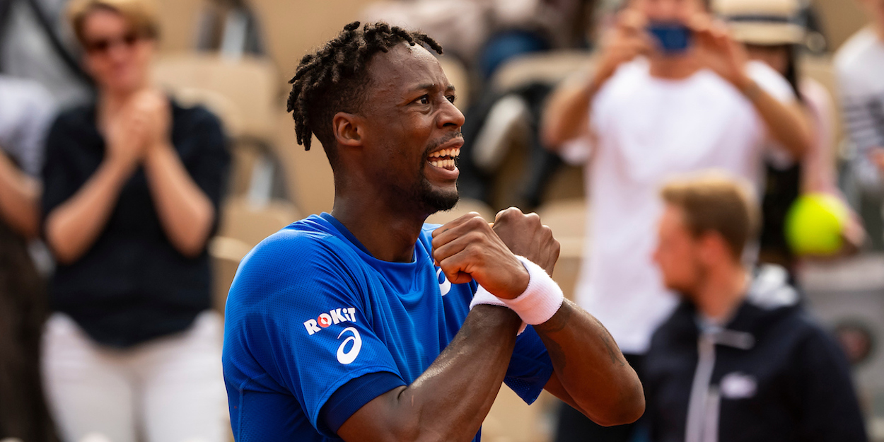Gael Monfils celebrates at French Open