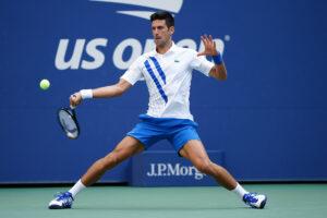 Novak Djokovic wears the ASICS Court FF tennis shoe