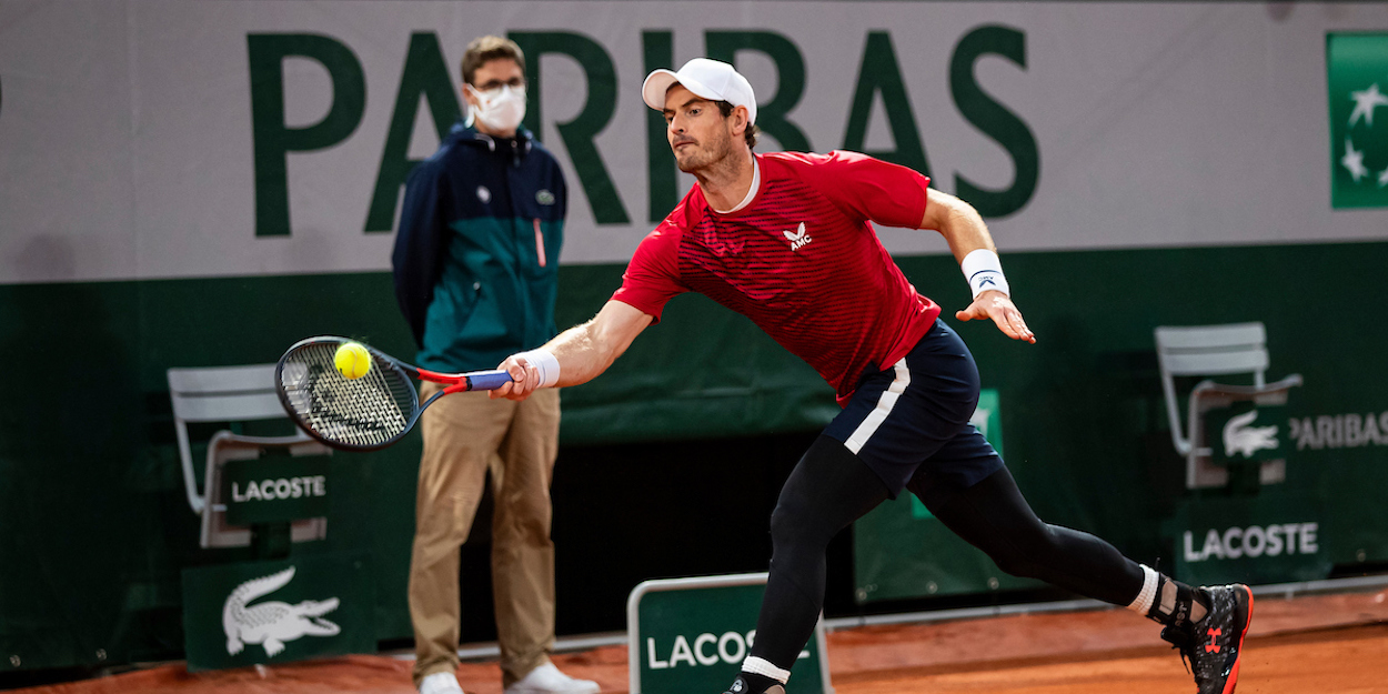 Andy Murray stretches for a forehand at French Open 2020.jpg