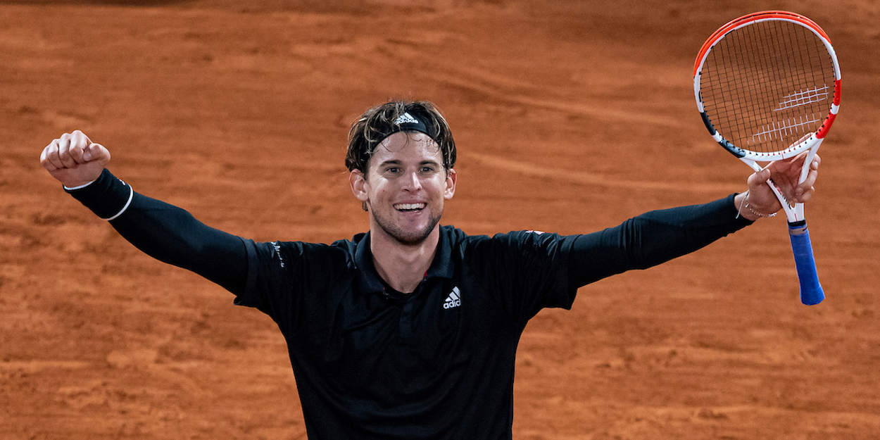 Dominic Thiem celebrates at French Open 2020