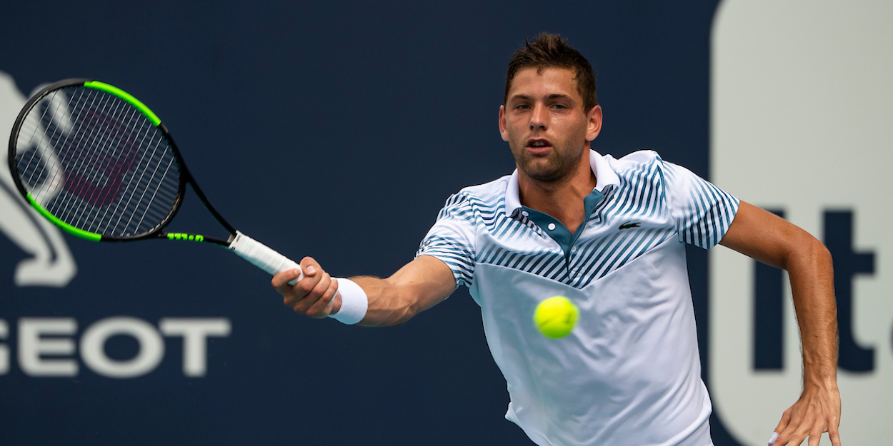 Filip Krajinovic plays a forehand