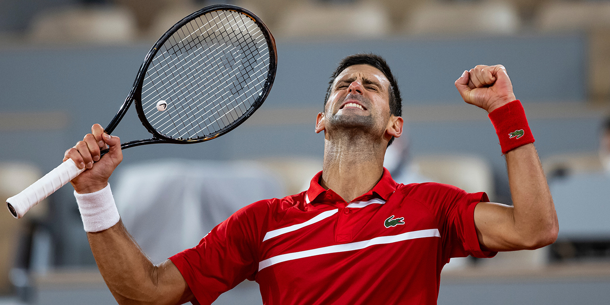 Novak Djokovic celebrating
