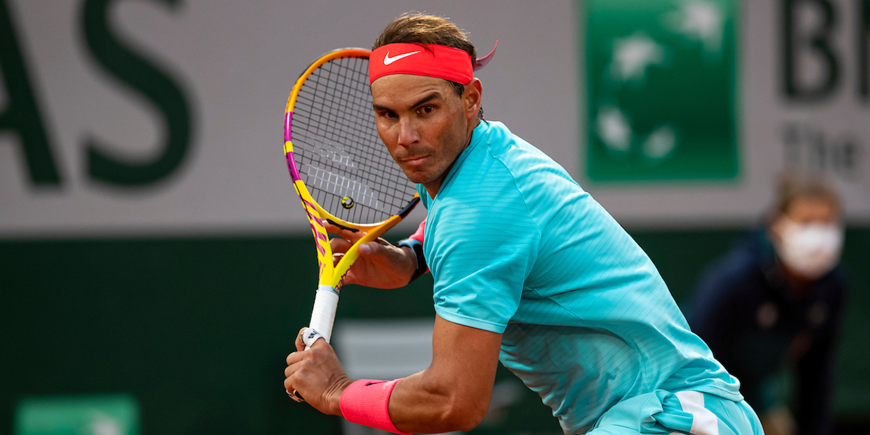 Rafa Nadal stretches for a backhand at French Open 2020.jpg