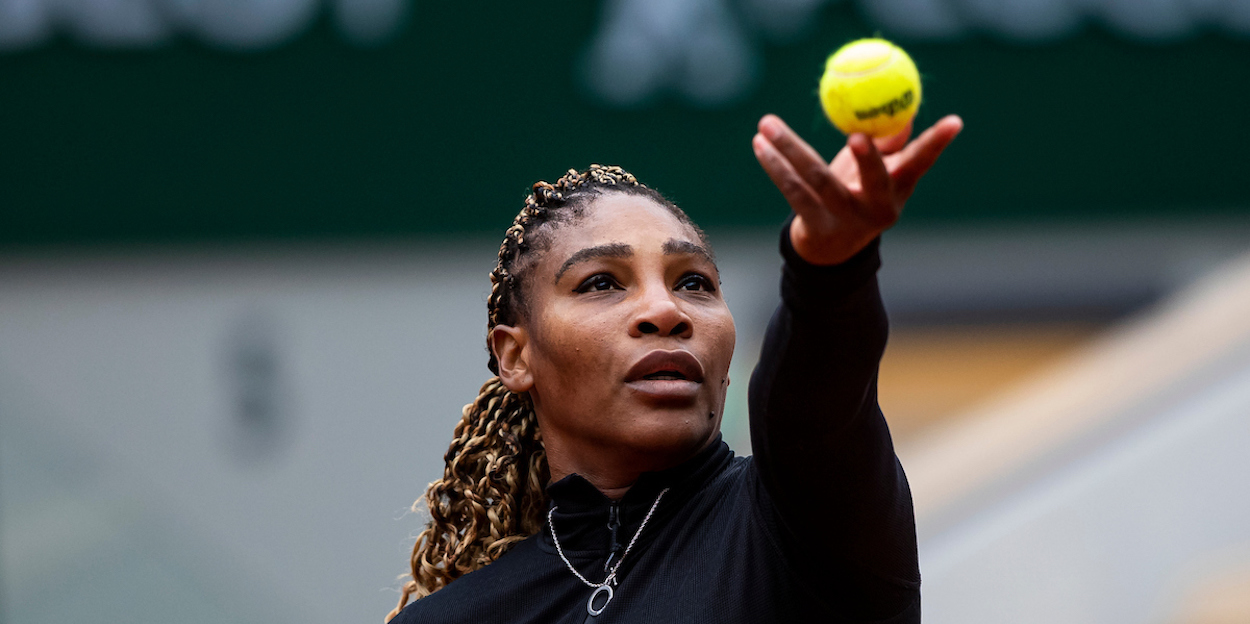 Serena Williams serves at French Open 2020
