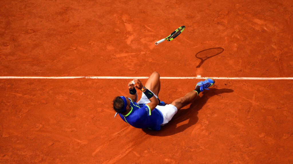 Rafa Nadal celebrates victory at the 2017 French Open