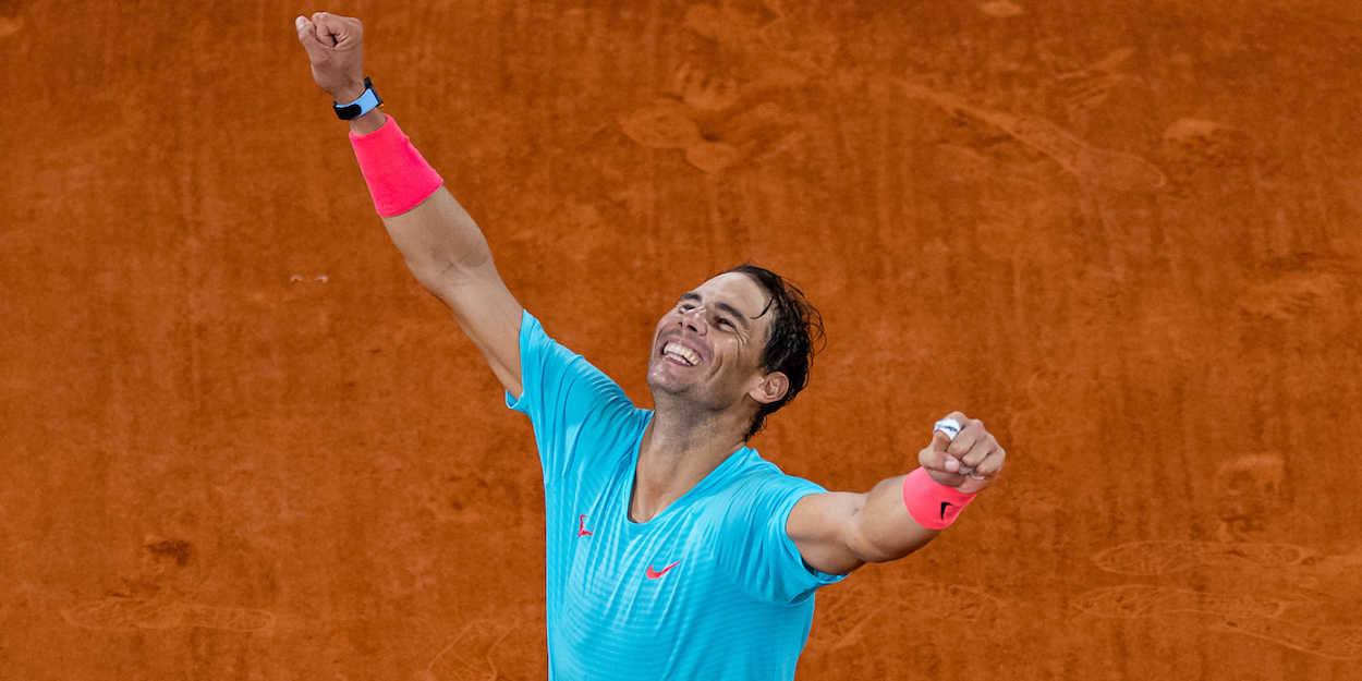 Rafael Nadal celebrates winning the 2020 French Open