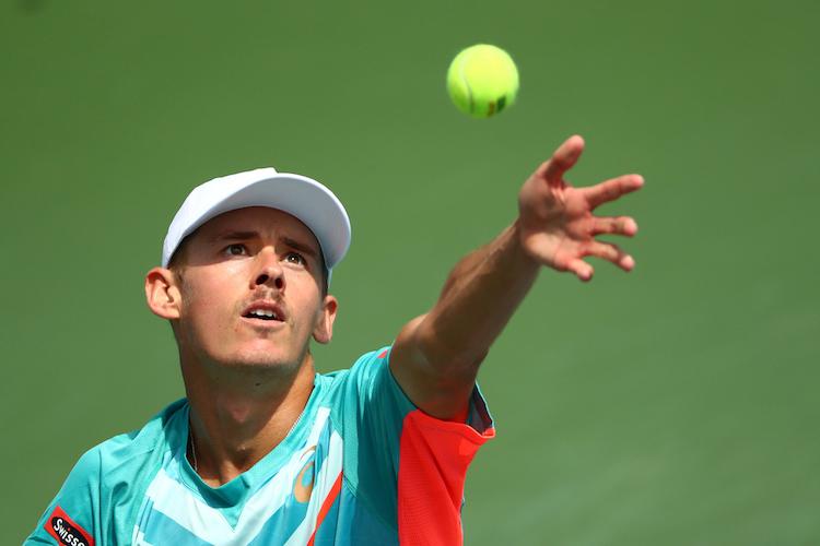 Alex de Minaur in action against Richard Gasquet during a men's singles match at the 2020 US Open