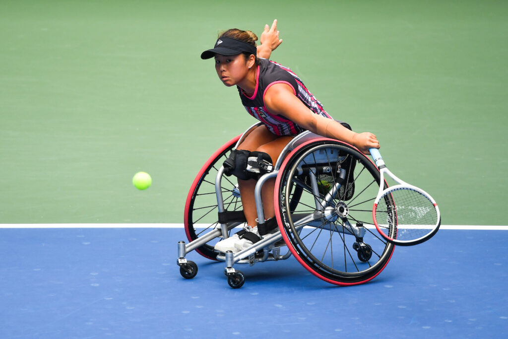 Yui Kamiji in action against Angelica Bernal during a wheelchair women's singles Semifinal match at the 2020 US Open.