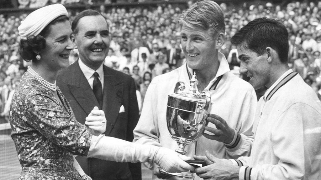 Lew Hoad (left) and Ken Rosewall, who both beat John Barrett at The Championships, contested the Wimbledon final in 1956