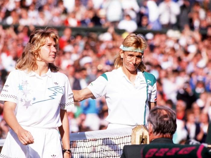 Martina Navratilova congratulates Steffi Grafafter the German's victory in the 1988 final, which John Barrett considers one of the greatest Wimbledon matches he has seen