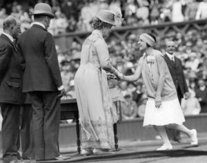Queen Mary present Suzanne Lenglen with one of 34 commemorative medals that were given to surviving champions in 1926