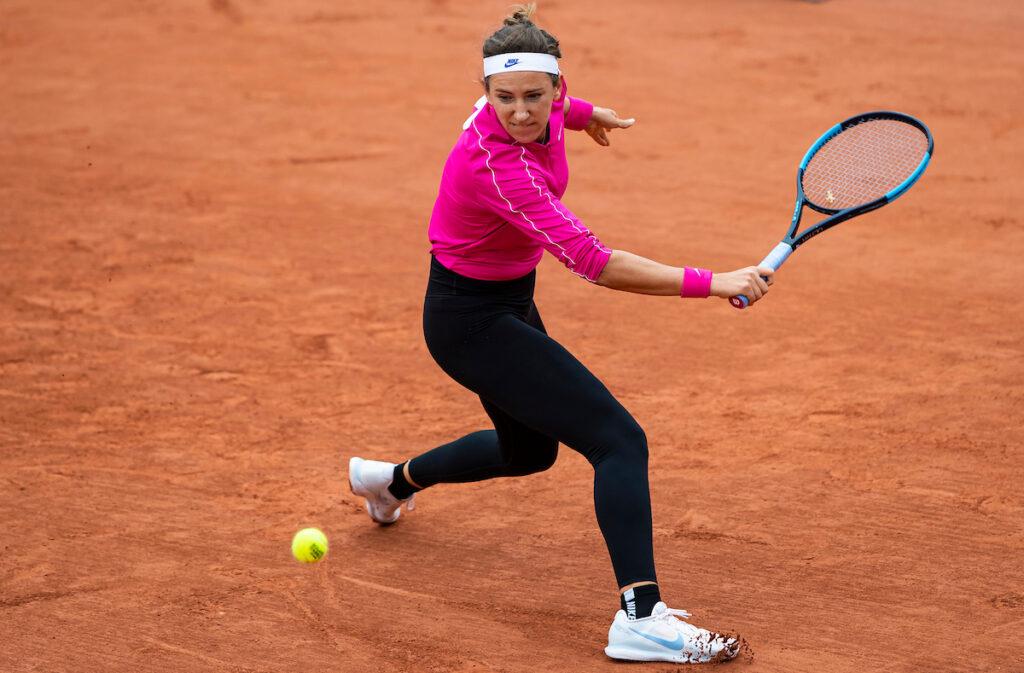 VICTORIA AZARENKA hits backhand slice at French Open 2020