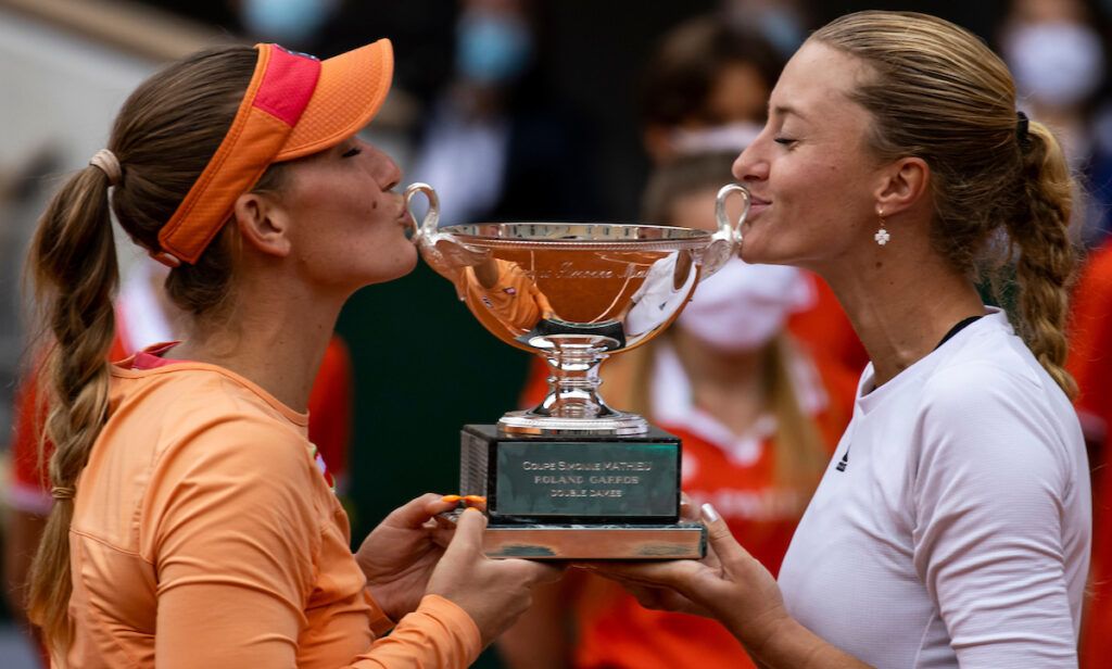 Timea Babos and Kristina Mladenovic winning the French Open doubles in 2020