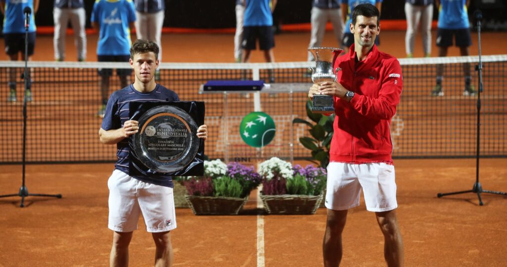 Diego Schwartzman with Novak Djokovic at the presentation ceremony at the 2020 Rome Masters