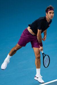 Roger Federer serves at the 2020 Australian Open