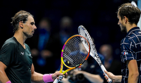 Beating the best - Rafael Nadal congratulates Daniil Medvedev at the O2 after the Russian claimed his first victory over the Spaniard