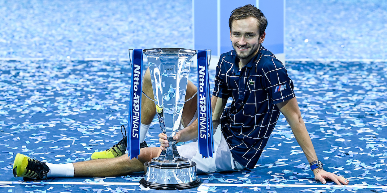 Daniil Medvedev holds the ATP Finals 2020 trophy