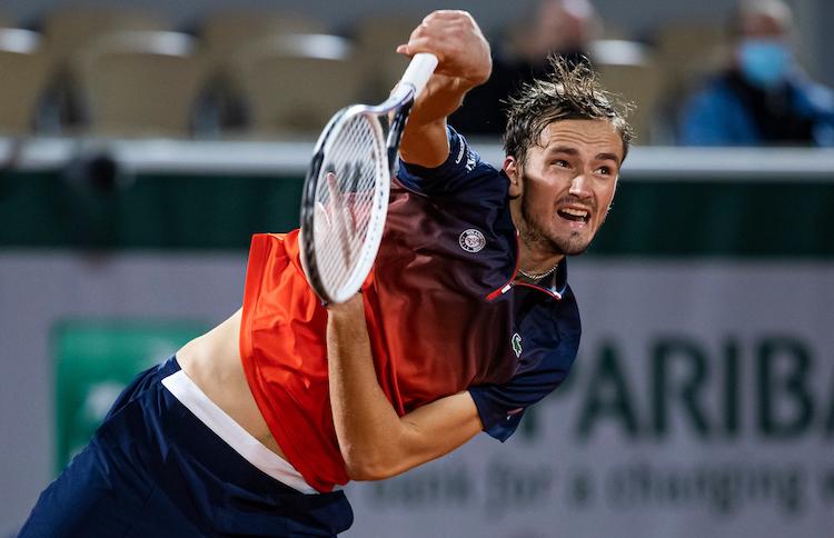 Daniil Medvedev serves at French Open 2020