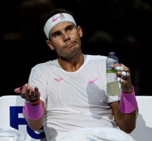 Rafael Nadal looks perplexed at the ATP Finals in London in 2019