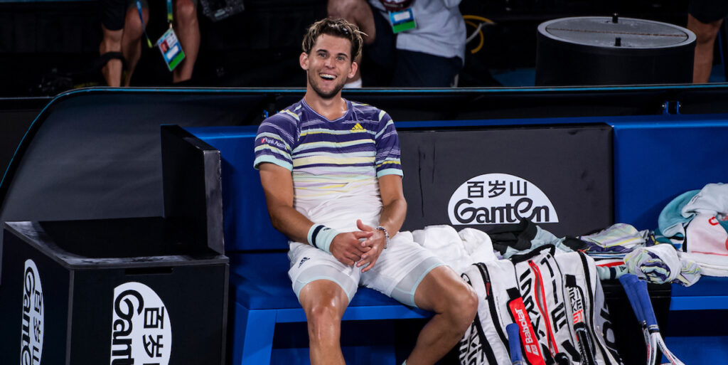 Dominic Thiem enjoys a victory at the 2020 Australian Open