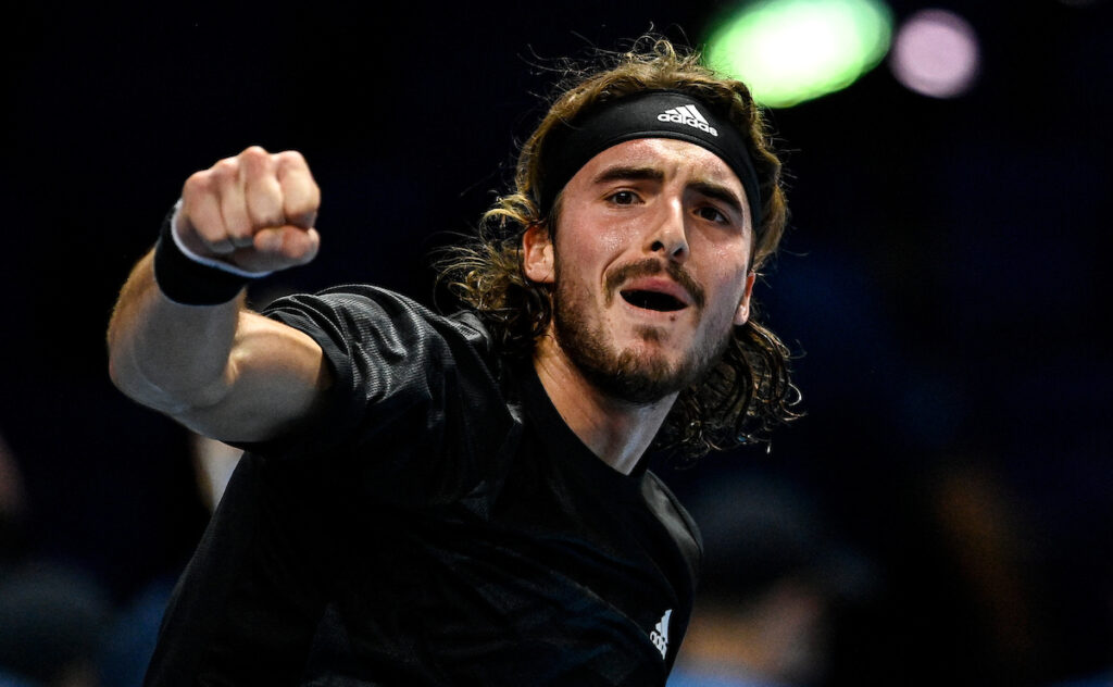 Stefanos Tsitsipas on his way to a victory at the ATP Finals
