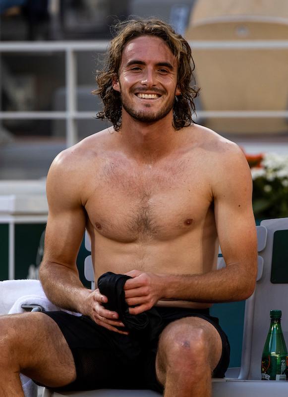STEFANOS TSITSIPAS smiles at Roland Garros 2020