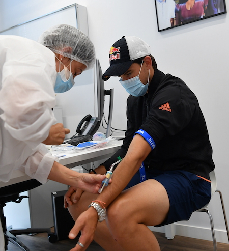 Dominic Thiem had a COVID test before playing in the ultimate Tennis Showdown at the Mouratoglou Tennis Academy last summer