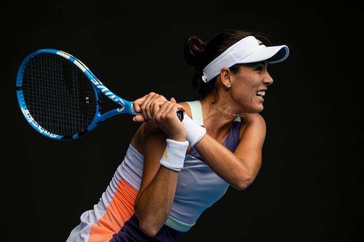 Garbine Muguruza plays a backhand on her way to the final of the 2020 Australian Open