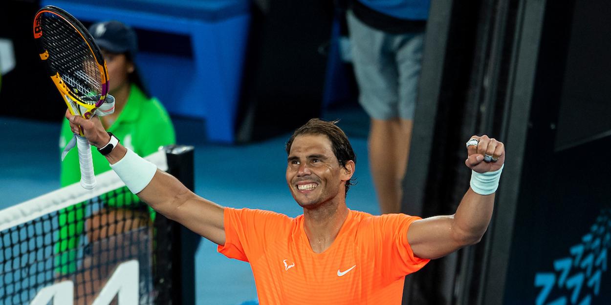 Rafa Nadal celebrates at Australian open 2021