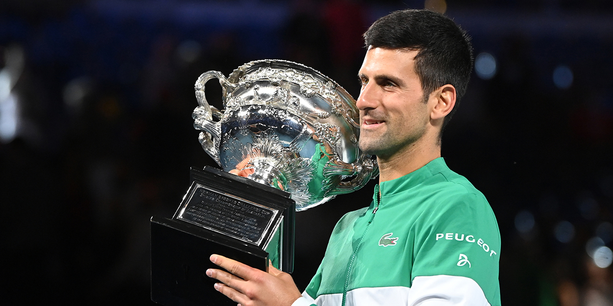 Novak Djokovic Australian Open trophy - now just two Slams behind Rafael Nadal and Roger Federer