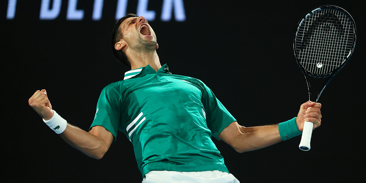 Novak Djokovic celebrates at Australian Open