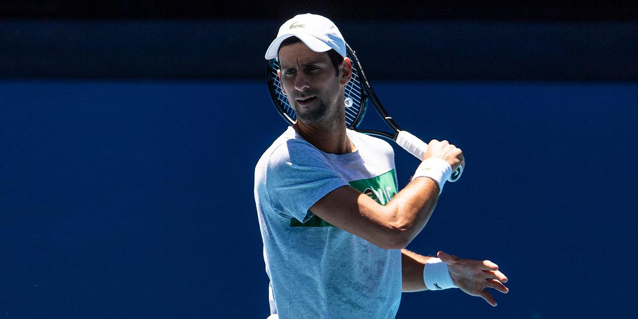 Novak Djokovic in Australia practice
