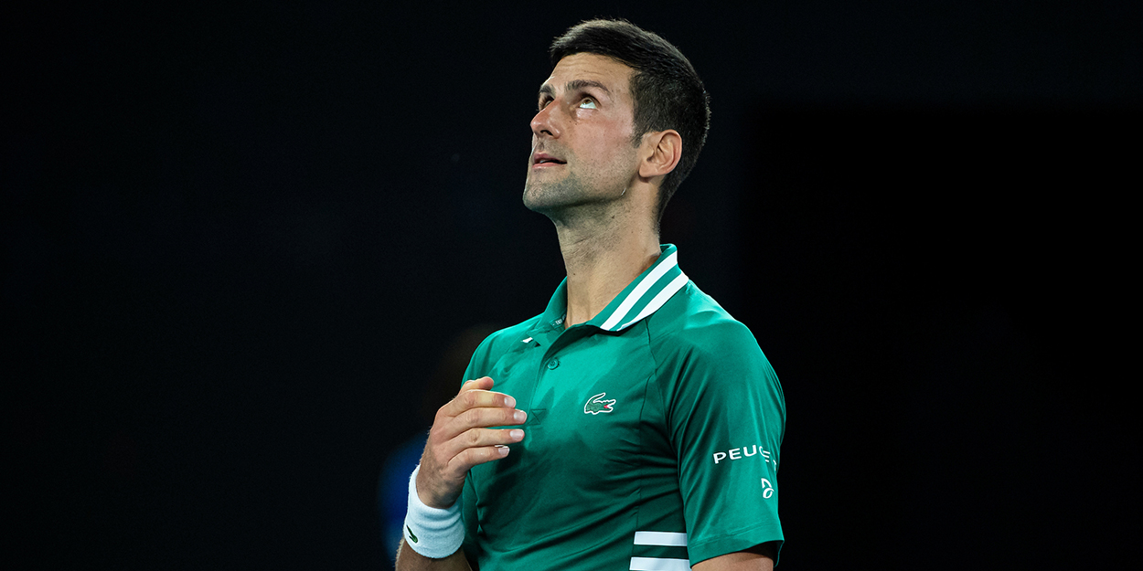 Novak Djokovic looking up Australian Open