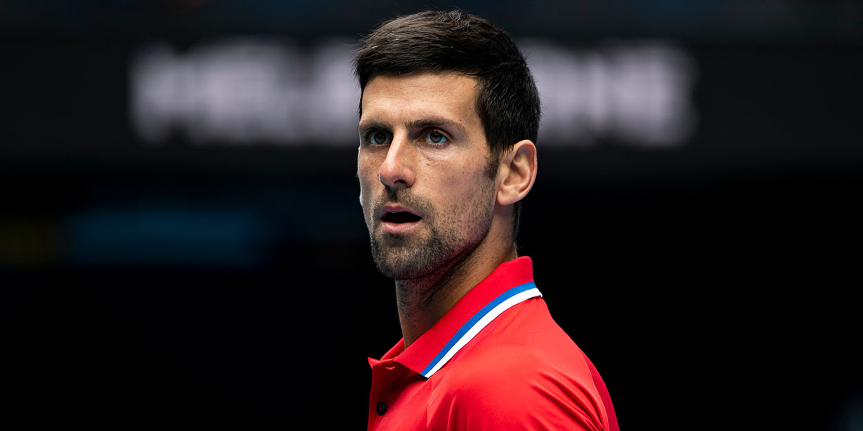 Novak Djokovic looks on at ATP Cup