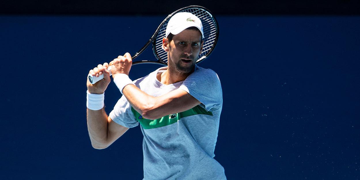 Novak Djokovic practice Australian Open