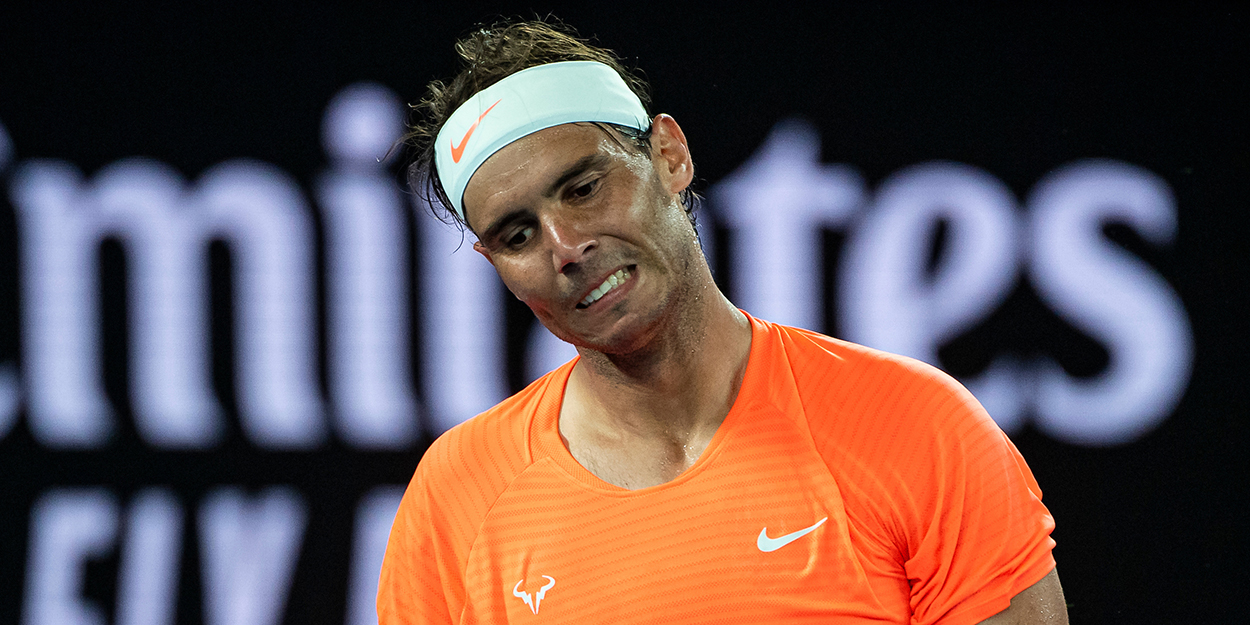 Rafael Nadal reacting at Australian Open
