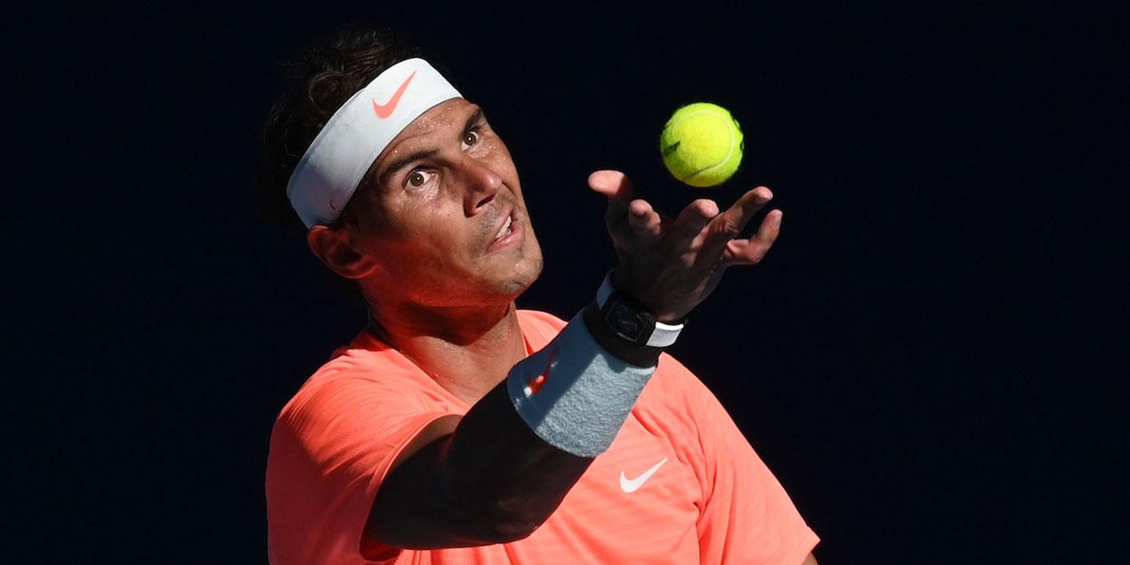 Rafael Nadal serving Australian Open